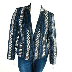 Ann Taylor 16 Blazer Diagonal Stripes Black Blue